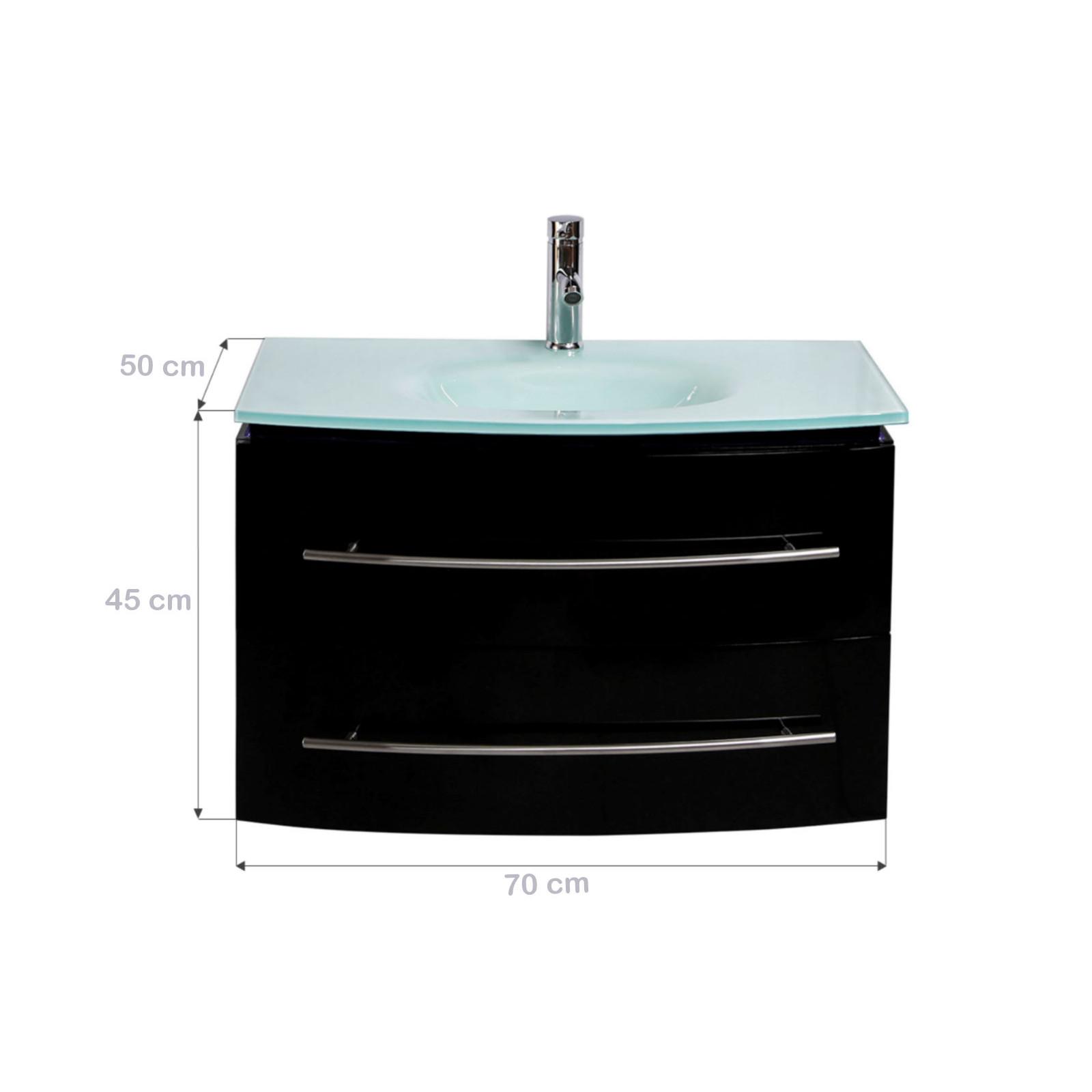 midori badm bel set waschbecken spiegel badezimmerm bel schwarz hochglanz 700mm ebay. Black Bedroom Furniture Sets. Home Design Ideas