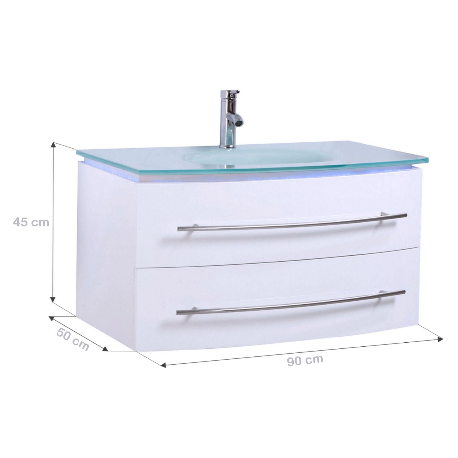 MIDORI© Badezimmermöbel Waschtisch Unterschrank LED Hochglänzend