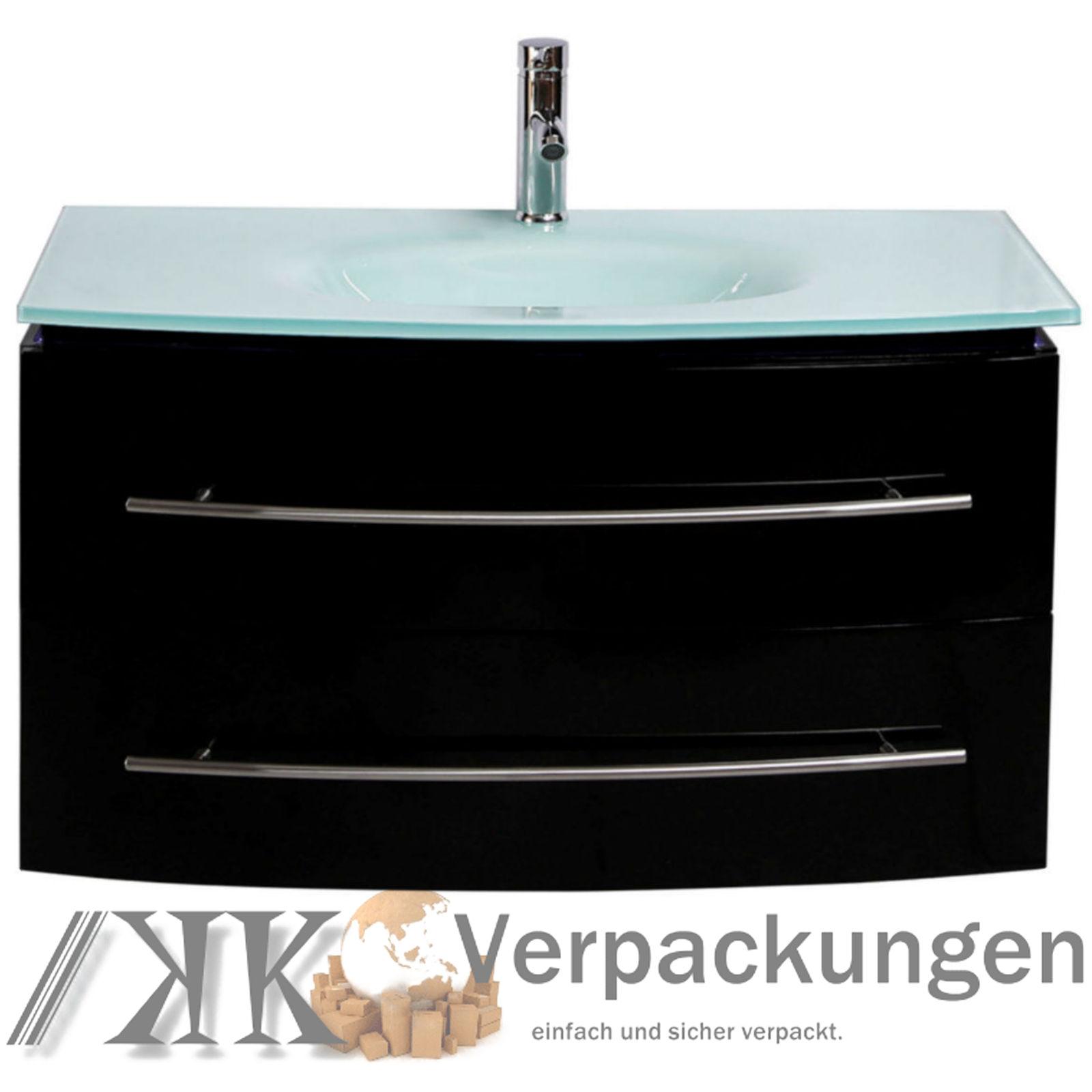 Details zu MIDORI© Badmöbel Unterschrank Waschbecken Touch LED Schwarz  Hochglanz 11 cm