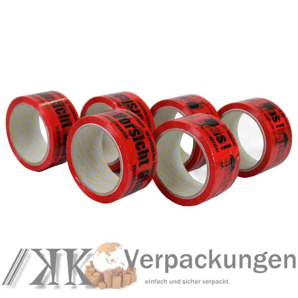 36x Vorsicht Glas 66m Lang 48mm Breit Klebeband Packband  Stärke 40 Bruchgefahr
