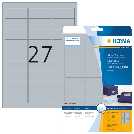 HERMA 4098 Etiketten A4 63,5x29,6 mm silber Folie glänzend 675 S