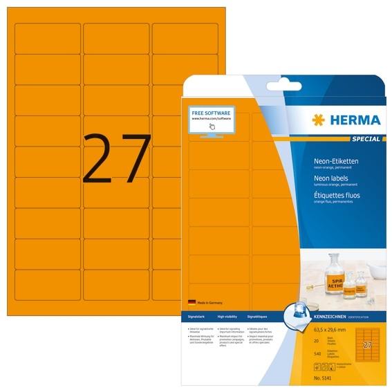 HERMA 5141 Neonetiketten A4 63,5x29,6 mm neon-orange Papier matt