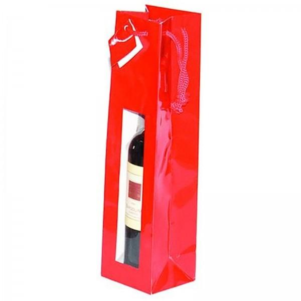 Geschenk-Flaschentasche für 1 Weinflasche mit Sichtfenster Rot Hochglanz