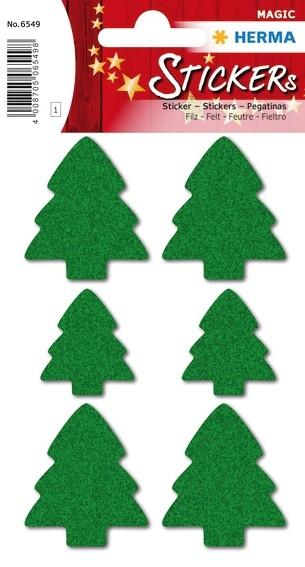 HERMA 6549 10x Sticker MAGIC Weihnachtsbäume, Filz