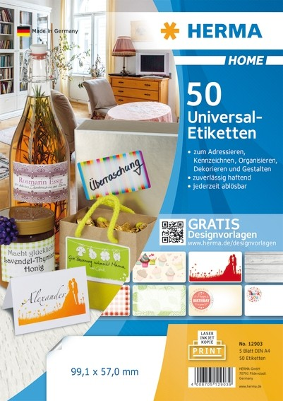 HERMA 12903 Ablösbare Universal-Etiketten A4 99,1x57 mm weiß Pap
