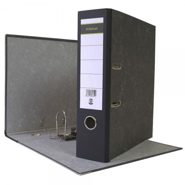 Ordner A4 8 cm Wolkenmarmorbezug schwarz Aktenordner Briefordner