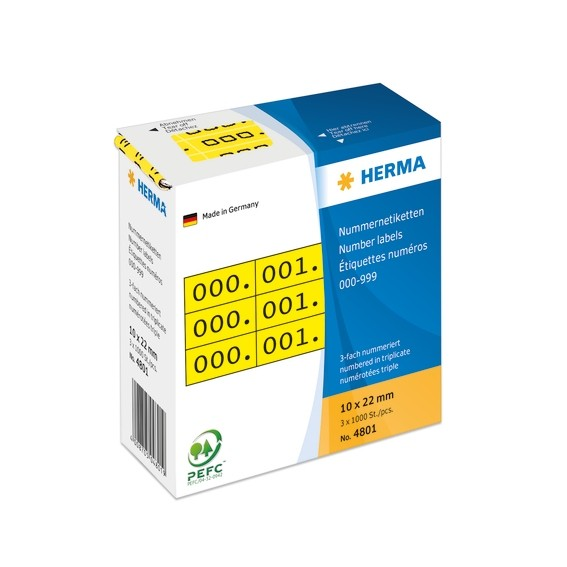 HERMA 4801 Nummernetiketten dreifach selbstklebend 10x22 mm gelb