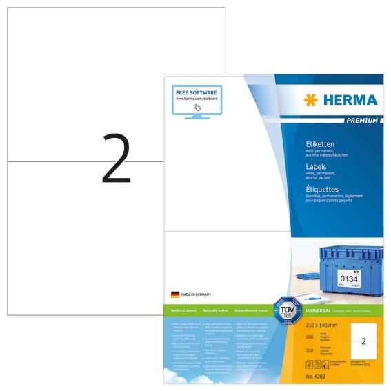 HERMA 4282 Etiketten Premium A4 210x148 mm weiß Papier matt 200