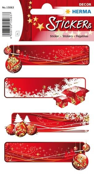 HERMA 15063 10x Sticker DECOR Geschenketiketten rot, beglimmert