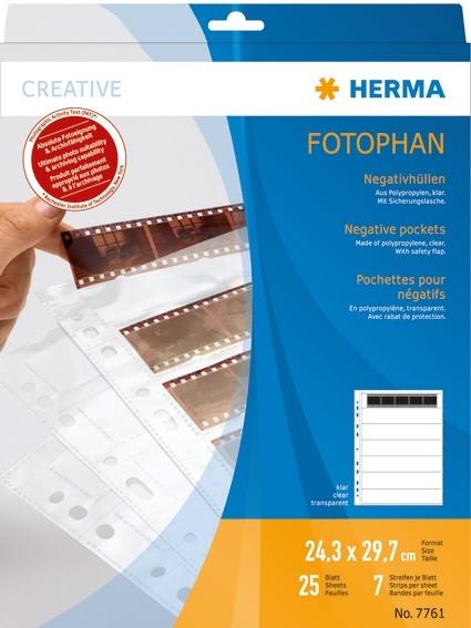HERMA 7761 Negativhüllen, transparent, für 7 x 5 Streifen, 25 St