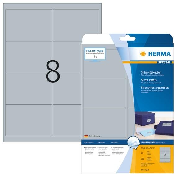 HERMA 4114 Etiketten A4 99,1x67,7 mm silber Folie glänzend 200 S