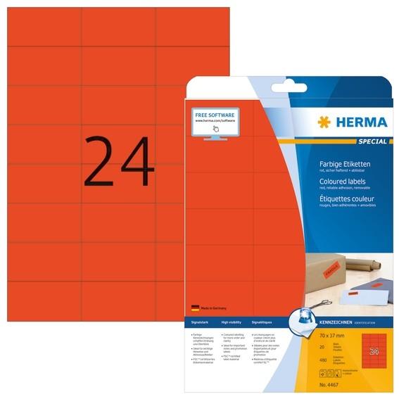 HERMA 4467 Farbige Etiketten A4 70x37 mm rot ablösbar Papier mat