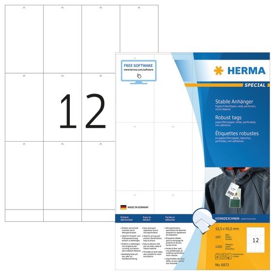 HERMA 6872 Stabile Anhänger A4 52,5x93,5 mm weiß Papier/Folie/Pa