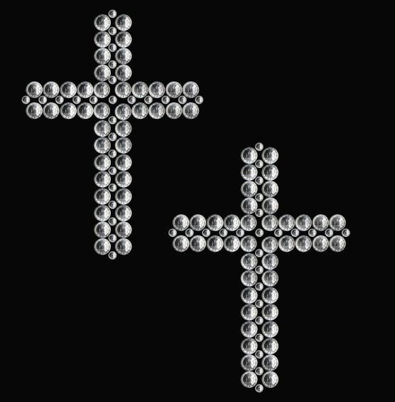 HERMA 15382 3x Crystal Sticker Kreuz Silber