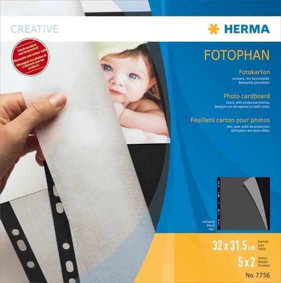 HERMA 7756 Fotokarton, 320x315 mm, schwarz, 5 Blatt