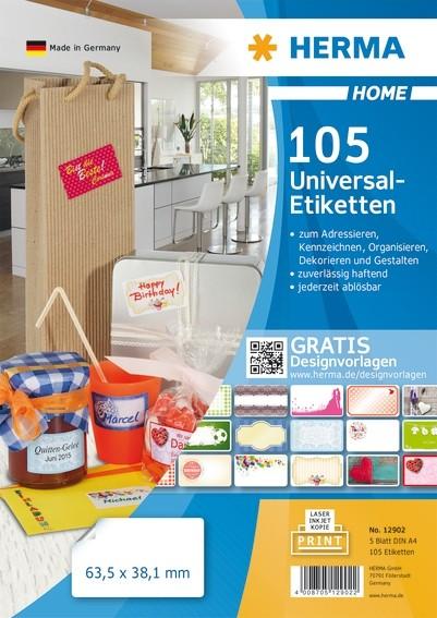 HERMA 12902 Ablösbare Universal-Etiketten A4 63,5x38,1 mm weiß P