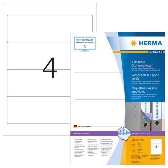 HERMA 10141 Ablösbare Ordneretiketten A4 192x61 mm weiß Movables