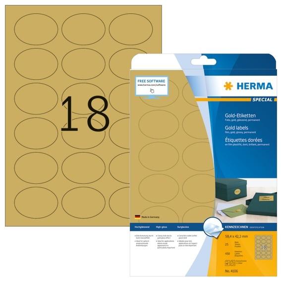 HERMA 4106 Etiketten A4 58,4x42,3 mm gold oval Folie glänzend 45