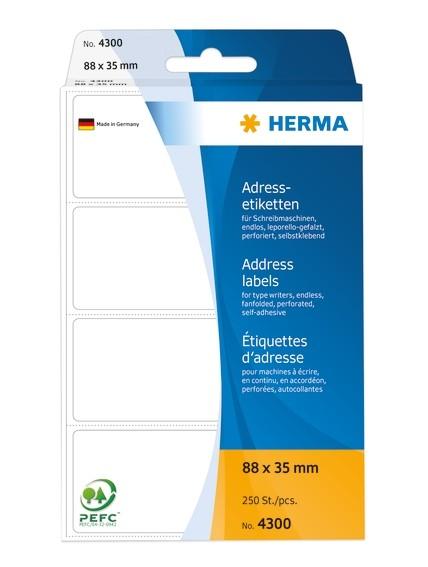 HERMA 4300 Adressetiketten für Schreibmaschinen endlos leporello