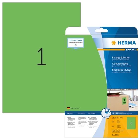HERMA 4424 Farbige Etiketten A4 210x297 mm grün ablösbar Papier