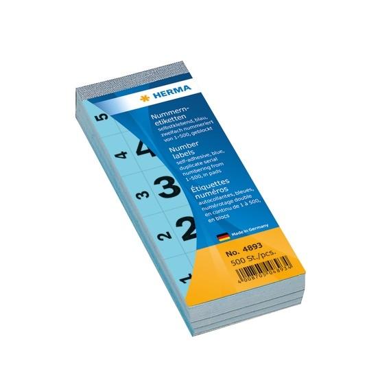 HERMA 4893 Nummernblock selbstklebend 1-500 blau 28x56 mm