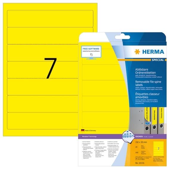 HERMA 10156 Ablösbare Ordneretiketten A4 192x38 mm gelb Movables
