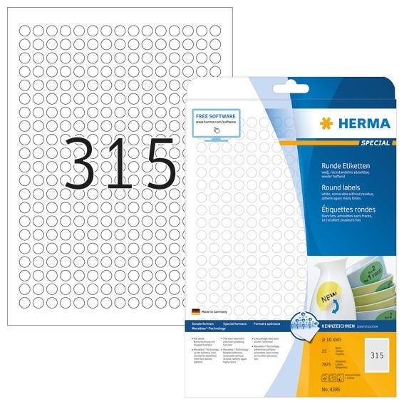 HERMA 4385 Ablösbare Etiketten A4 Ø 10 mm rund weiß Movables/abl