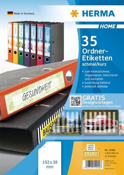 HERMA 12900 Ablösbare Ordneretiketten A4 192x38 mm weiß Papier m