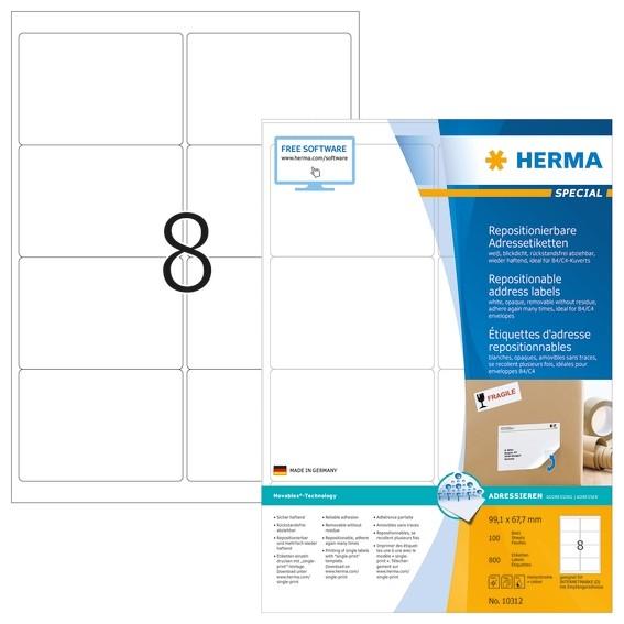 HERMA 10312 Repositionierbare Adressetiketten A4 99,1x67,7 mm we