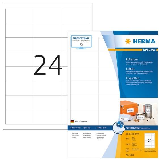 HERMA 4814 Inkjet-Etiketten A4 66x33,8 mm weiß Papier matt 2400