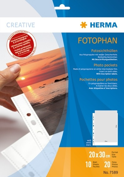 HERMA 7589 Fotophan Fotosichthüllen 20x30 cm hoch weiß 10 Hüllen