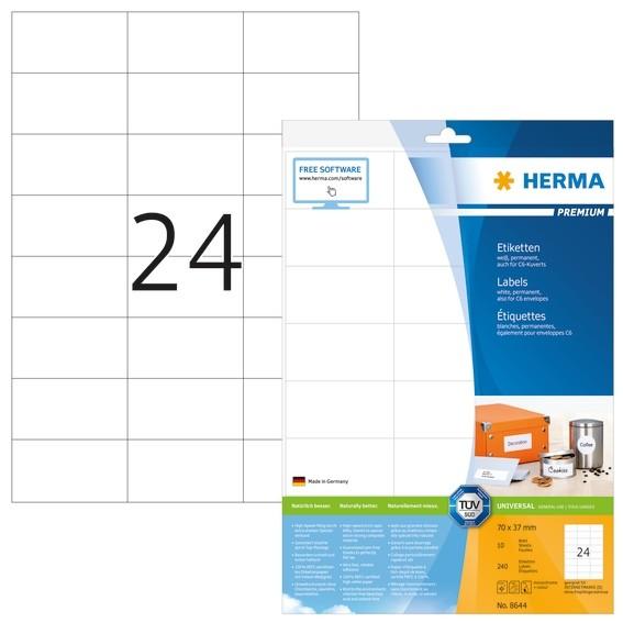 HERMA 8644 Etiketten Premium A4 70x37 mm weiß Papier matt 240 St