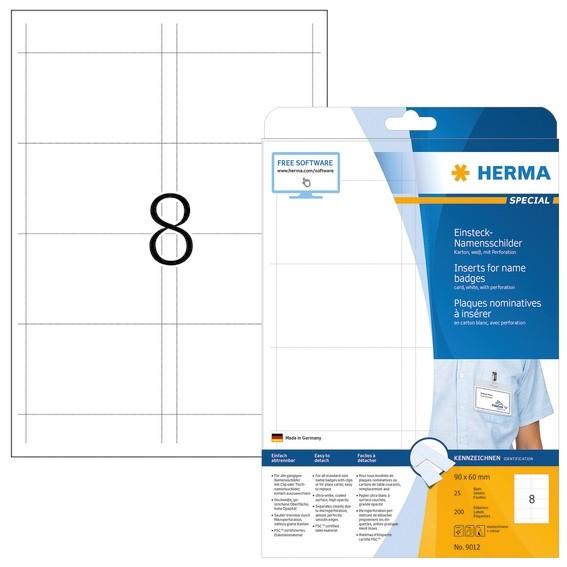 HERMA 9012 Namens-Einsteckschilder A4 90x60 mm weiß Karton nicht