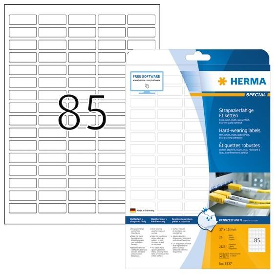 HERMA 8337 Etiketten strapazierfähig A4 37x13 mm weiß stark haft