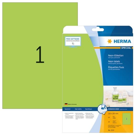 HERMA 5151 Neonetiketten A4 210x297 mm neon-grün Papier matt 20