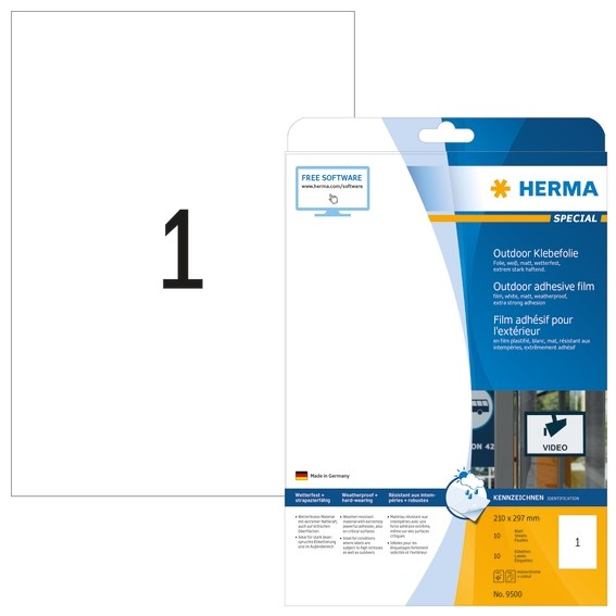 HERMA 9500 Etiketten A4 Outdoor Klebefolie 210x297 mm weiß extre