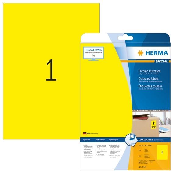 HERMA 4421 Farbige Etiketten A4 210x297 mm gelb ablösbar Papier