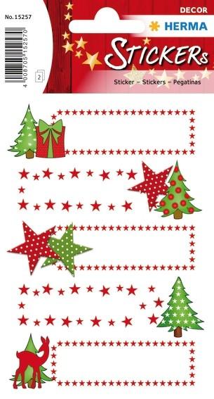 HERMA 15257 10x Sticker DECOR Geschenk10x Sticker Sterne + Tanne
