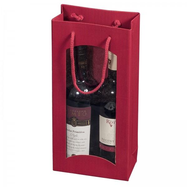 Geschenk-Flaschentasche für 2 Weinflaschen mit Sichtfenster Bordeaux