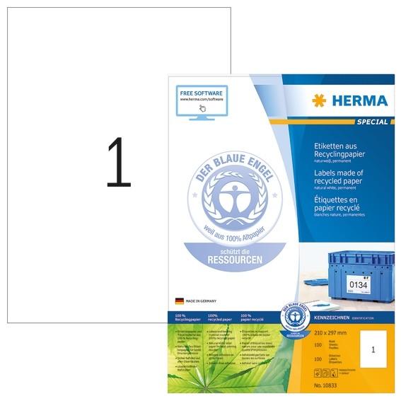 HERMA 10833 Etiketten A4 210x297 mm weiß Recyclingpapier matt Bl