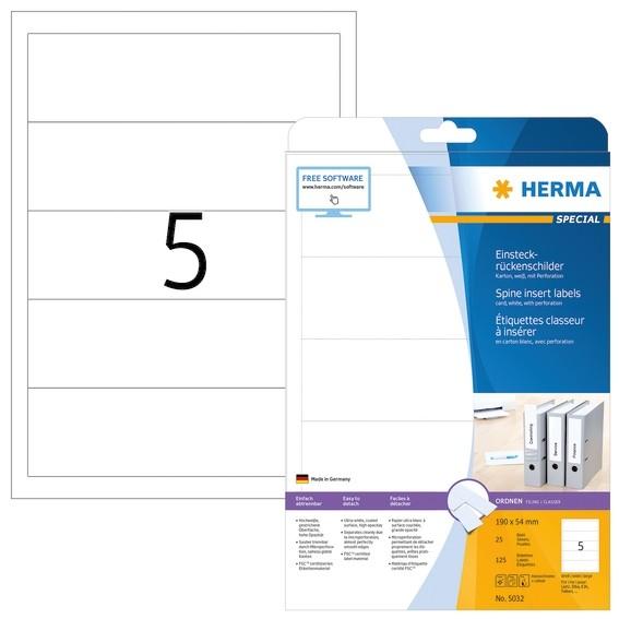HERMA 5032 Einsteckrückenschilder A4 190x54 mm weiß Karton perfo