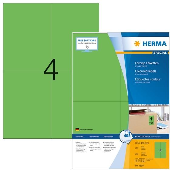 HERMA 4399 Farbige Etiketten A4 105x148 mm grün Papier matt 400