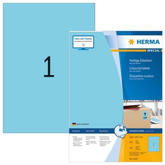 HERMA 4403 Farbige Etiketten A4 210x297 mm blau Papier matt 100