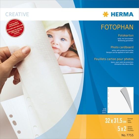 HERMA 7755 Fotokarton, 320x315 mm, weiß, 5 Blatt