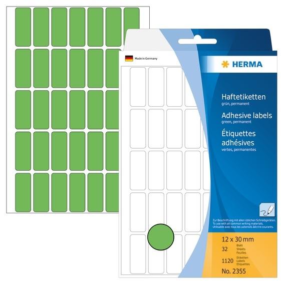 HERMA 2355 Vielzwecketiketten 12x30 mm grün Papier matt Handbesc