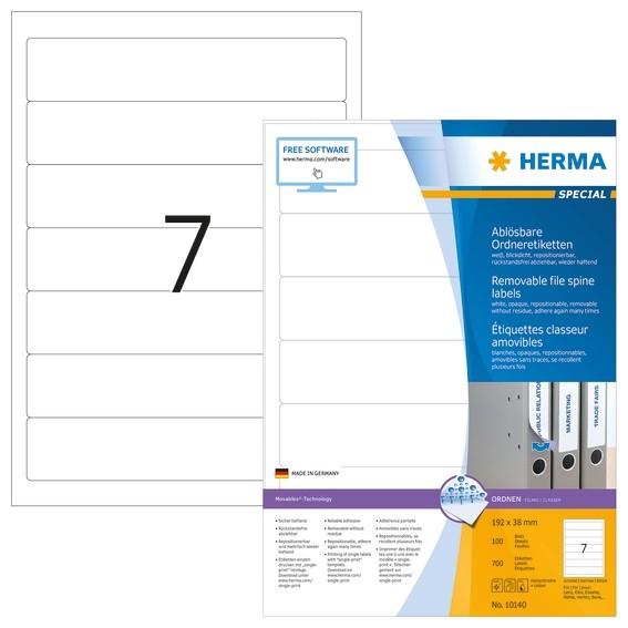HERMA 10140 Ablösbare Ordneretiketten A4 192x38 mm weiß Movables