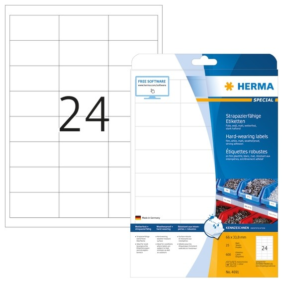 HERMA 4691 Etiketten strapazierfähig A4 66x33,8 mm weiß stark ha