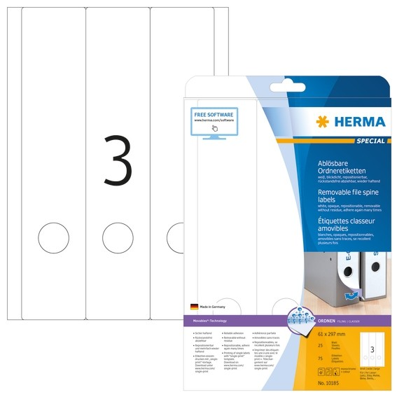 HERMA 10185 Ablösbare Ordneretiketten A4 61x297 mm weiß Movables