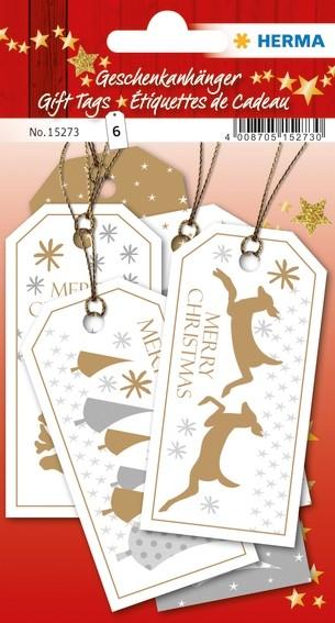 HERMA 15273 5x Geschenkanhänger Weihnachten Merry Christmas 8 x
