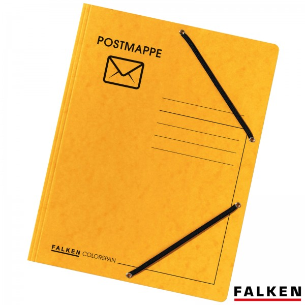 Postmappe DIN A4 aus Colorspan-Karton mit Gummizügen Gelb